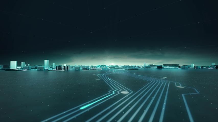 Qi with digital technology hitech concept   Shutterstock HD Video #1055394032