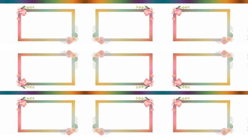 Rectangular picture frames for copy space of photos or text with flowers, purple, yellow and pink decorative against a white background   Shutterstock HD Video #1055394137