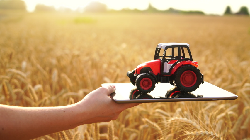 Woman farmer holds a digital tablet with toy tractor on a background of a wheat field.   Shutterstock HD Video #1055394161