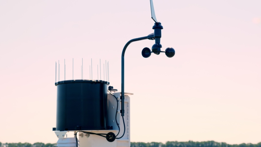 close-up of meteorological instrument. A small weather station on a farm field, near the irrigation tank. The concept of smart farming technology Royalty-Free Stock Footage #1055399066