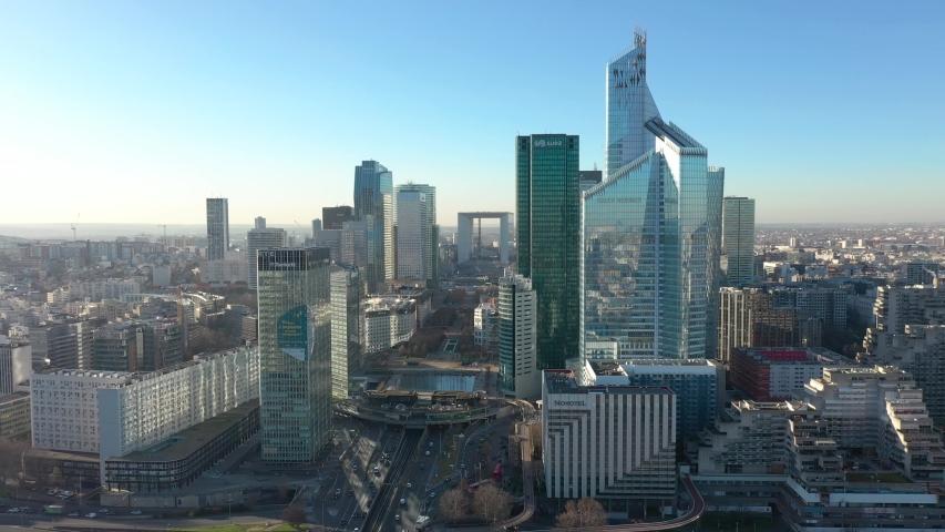 "Paris La Defense / France - May 2020: Modern parisian business district ""French Manhattan"", drone aerial view"