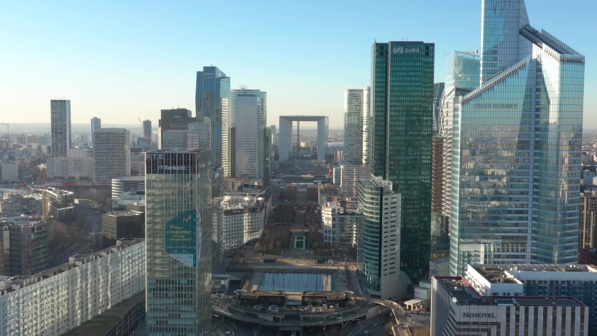 "Modern La Defense parisian business district ""French Manhattan"", drone aerial view"