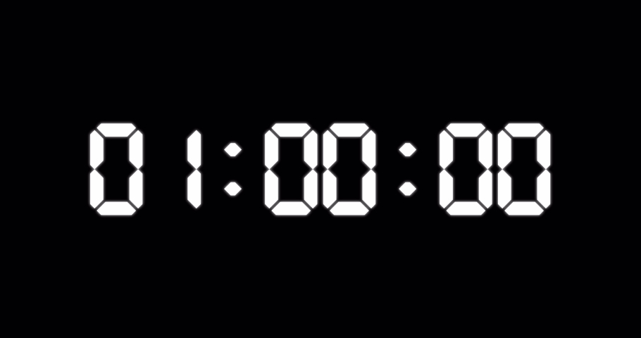 One minute countdown timer of glowing led electronic white digits on black background | Shutterstock HD Video #1055404304