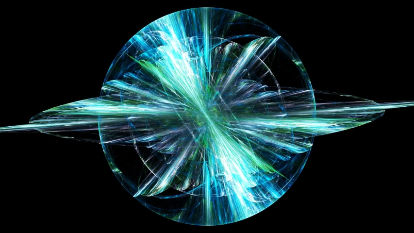 Fractal art. Rotating transparent sphere with its orbit. Seamless loop animation.   Shutterstock HD Video #1055405012