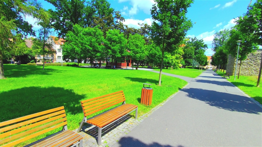 Open City Park in Summer, Trees and Plants, Europe, CZ, Prostejov | Shutterstock HD Video #1055406122