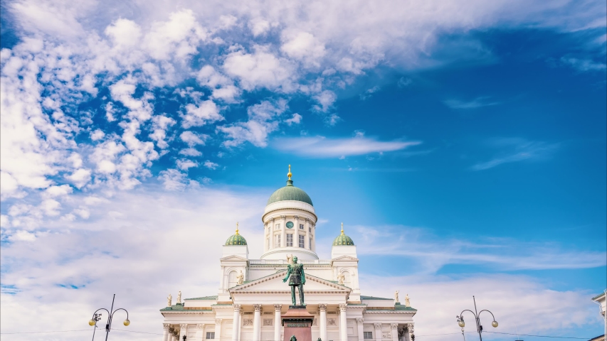 Time lapse of Helsinki cathedral in summer time. 4K Time lapse, beautiful sky with clouds background, Sky with clouds