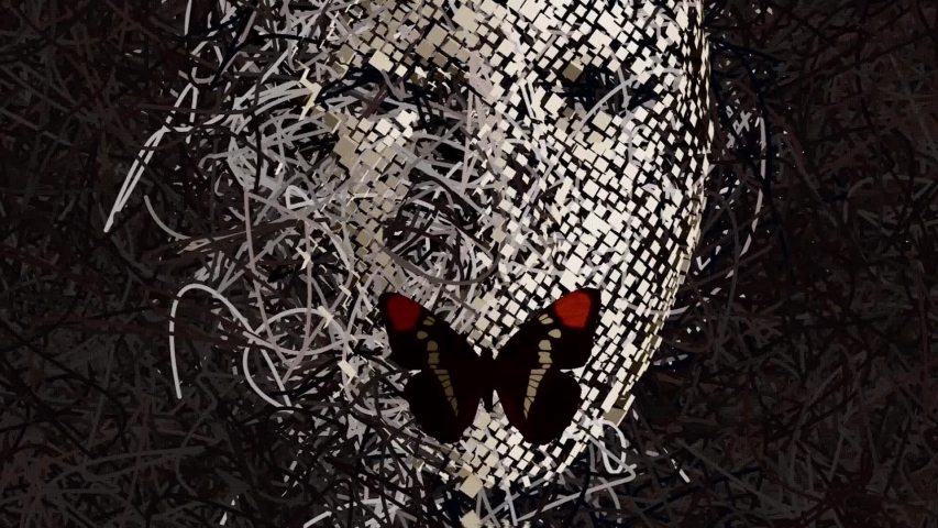 Surreal Mask with Many Wires and Butterfly