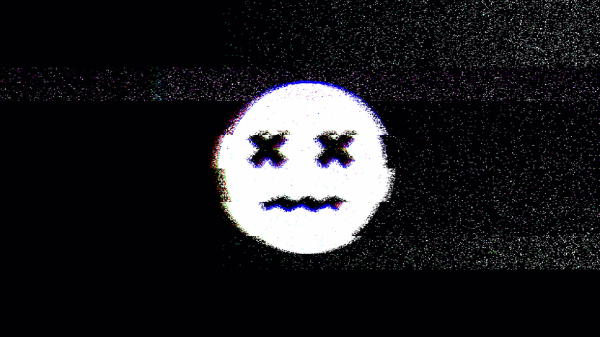 Dead emoji with glitch and noise distortion. 4k video. | Shutterstock HD Video #1055417873