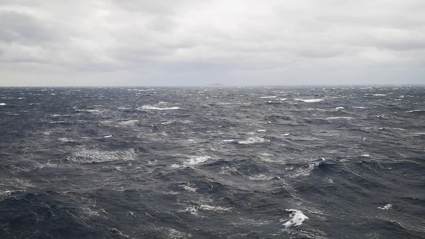Panoramic Open Sea View with Big Waves on Cloudy Day with Strong Winds | Shutterstock HD Video #1055418581
