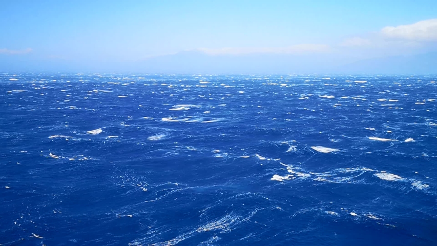 Panoramic View of Open Sea under Blue Sky and Waves with Whitecaps | Shutterstock HD Video #1055418584