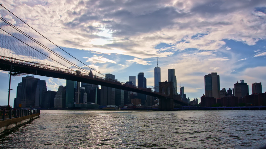 Timelapse of New York City Manhattan, financial district night skyline, cityscape at Brooklyn bridge park 2020 4k  | Shutterstock HD Video #1055422286