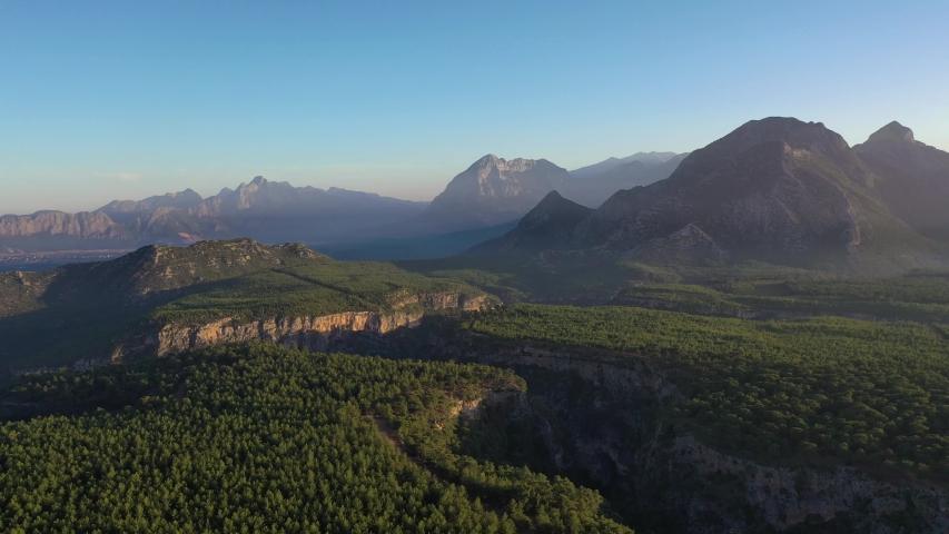 Drone shot of a huge canyon. Ulubey Canyon Usak Turkey.