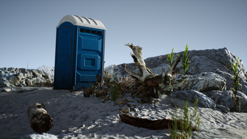 Portable mobile toilet in the beach. chemical WC cabin | Shutterstock HD Video #1055433851