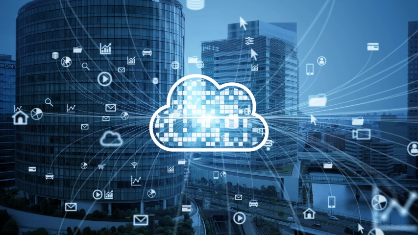 Cloud computing concept. Software as a Service. SaaS. Communication network. Royalty-Free Stock Footage #1055436770