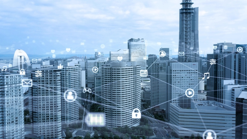 Smart city and communication network concept. Digital transformation. Royalty-Free Stock Footage #1055436779