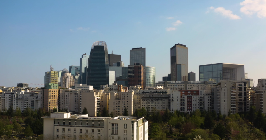 Skyview of business area with blue sky at Sunset, Paris | Shutterstock HD Video #1055437742