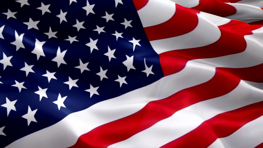 American flag video. 3d United States American Flag Slow Motion video. US American Flag Blowing Close Up. US Flags Motion Loop HD resolution USA Background. USA flag Closeup 1080p Full HD video