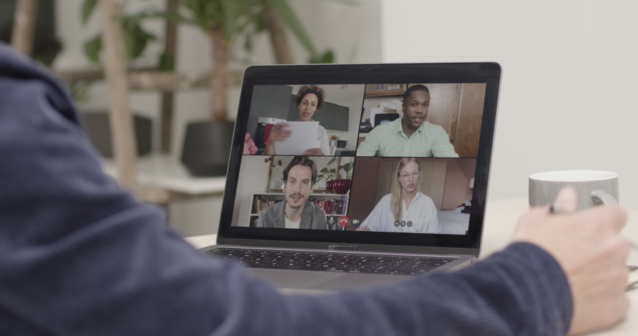 Video call with colleagues working from home, Business people using Video Conferencing technology for virtual meeting | Shutterstock HD Video #1055441204