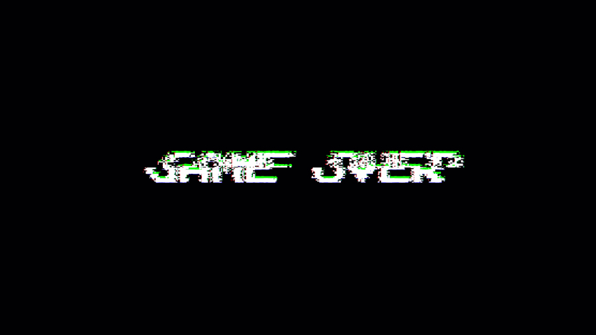 Retro video game screen with glitch. Game over with noisy distortion. 4k video.