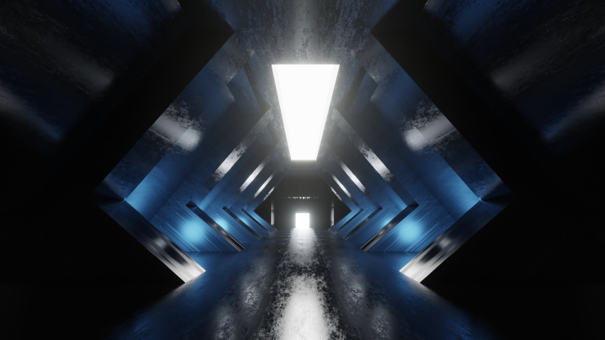 3d rendered Animation of a science fiction space ship or space station tunnel interior. | Shutterstock HD Video #1055442347