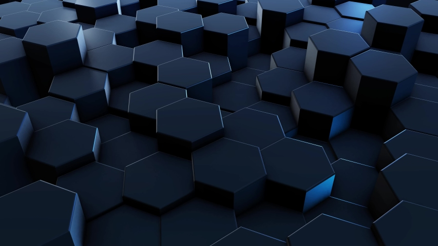 Popular graphic intro animation. Blue abstract 3D animation of geometric shapes. Motion graphics 4K