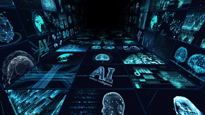 Digital Network Technology AI artificial intelligence data concepts Background.   Shutterstock HD Video #1055448074