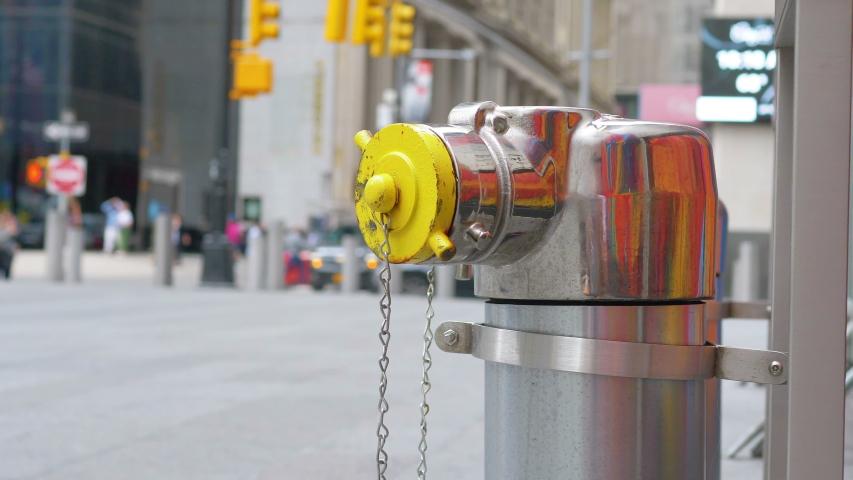 Fire Hydrant on New York city streets in 4K Slow motion 60fps | Shutterstock HD Video #1055455535