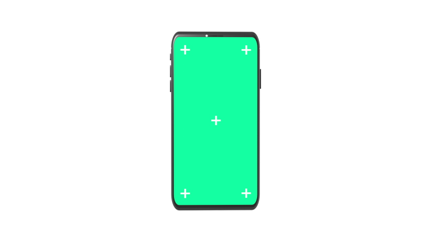 3D Rendering Smartphone with Motion Tracking Points and Green Screen for chroma key Rotating on White Background. Seamless loop. | Shutterstock HD Video #1055460980