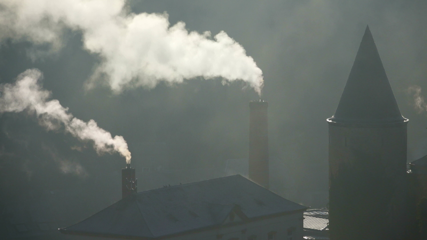 MS Building with smoking chimneys / Luxembourg City, Luxembourg | Shutterstock HD Video #1055476253
