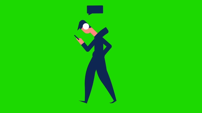 Animated cartoon design young people looks busy while using their cellphone and standing, green screen background | Shutterstock HD Video #1055490155