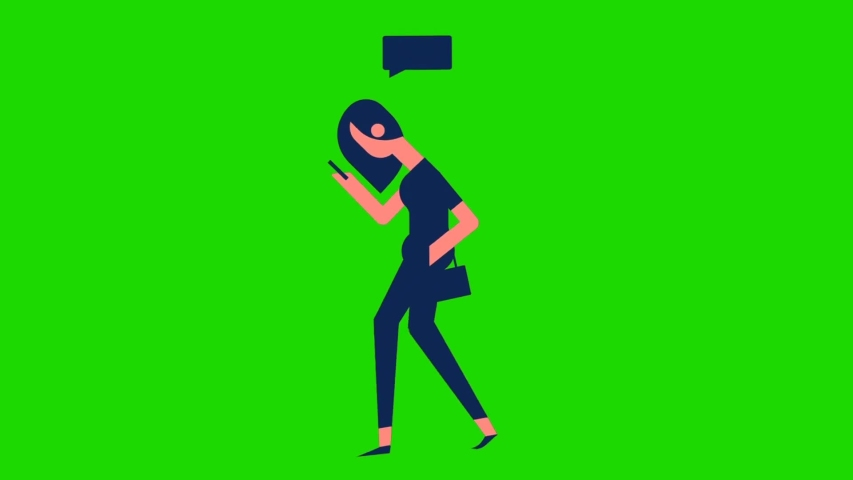 Animated cartoon design young people looks busy while using their cellphone and standing, green screen background | Shutterstock HD Video #1055490206