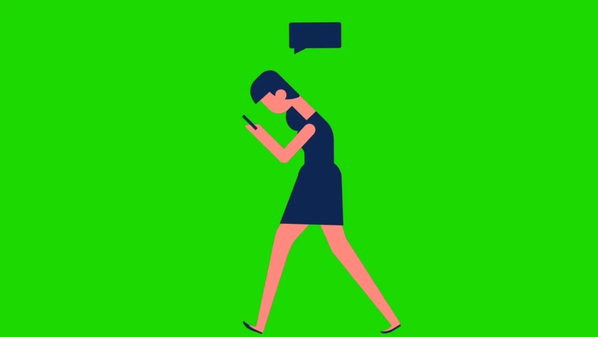 Animated cartoon design young people looks busy while using their cellphone and standing, green screen background | Shutterstock HD Video #1055490374