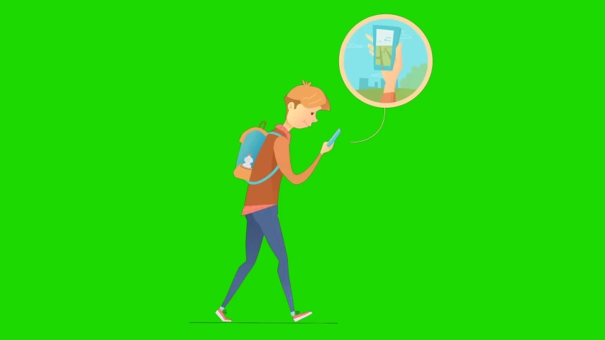 Animated cartoon design young people looks busy while using their cellphone and walking, green screen background | Shutterstock HD Video #1055490413
