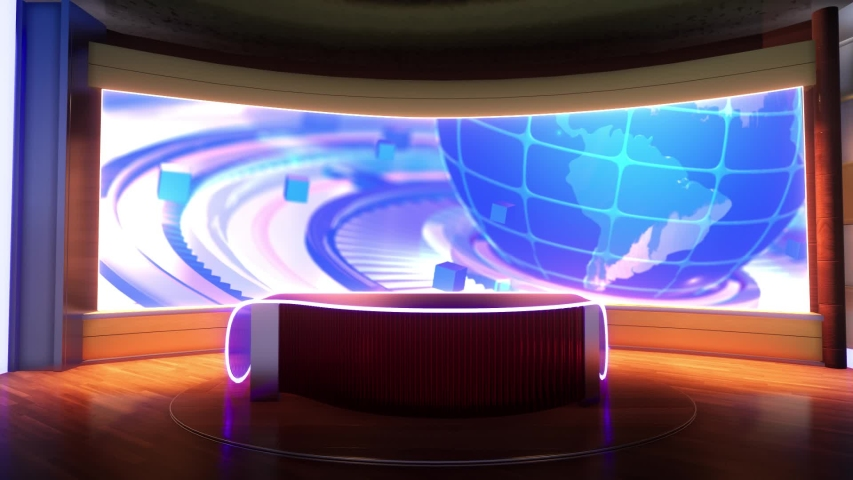 3d virtual news studio green screen background   Shutterstock HD Video #1055492864