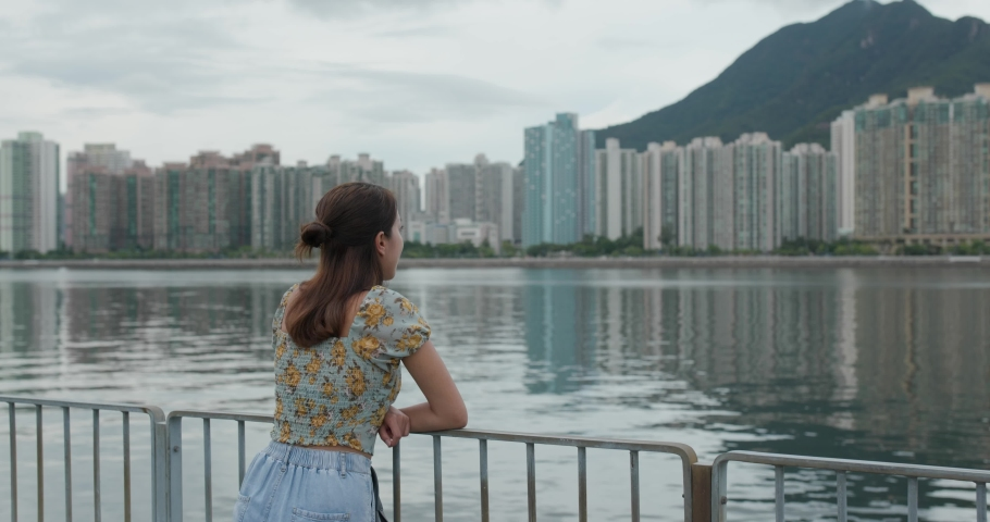 Woman look at the sea | Shutterstock HD Video #1055512505