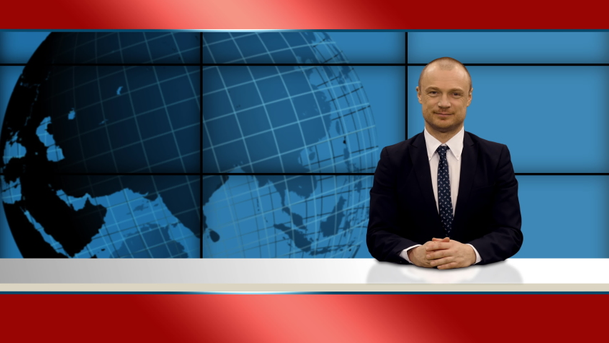 Anchorman reporting during news program on tv, 4k footage   Shutterstock HD Video #1055513741