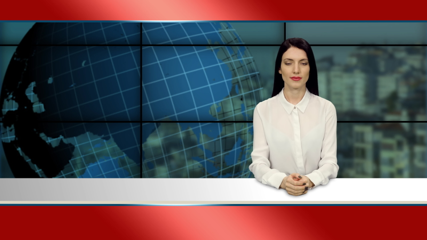 Young elegant brunette anchorwoman in white blouse telling the news in tv studio, 4k footage   Shutterstock HD Video #1055513744
