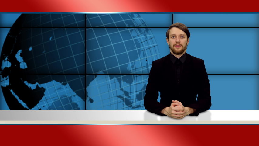 Young stylish bearded anchorman telling the breaking news in television studio, 4k footage   Shutterstock HD Video #1055513747