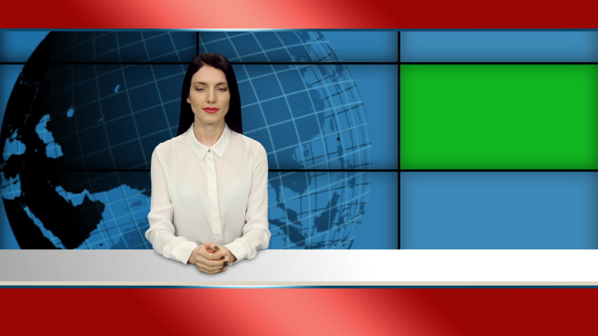 Attractive woman news presenter in broadcasting studio with green mockup screen, 4k footage   Shutterstock HD Video #1055513750