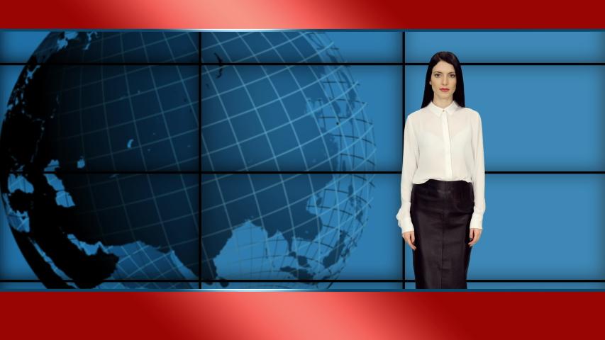 Elegant female newscaster in white blouse and black skirt telling the breaking news in tv studio, 4k footage   Shutterstock HD Video #1055513753