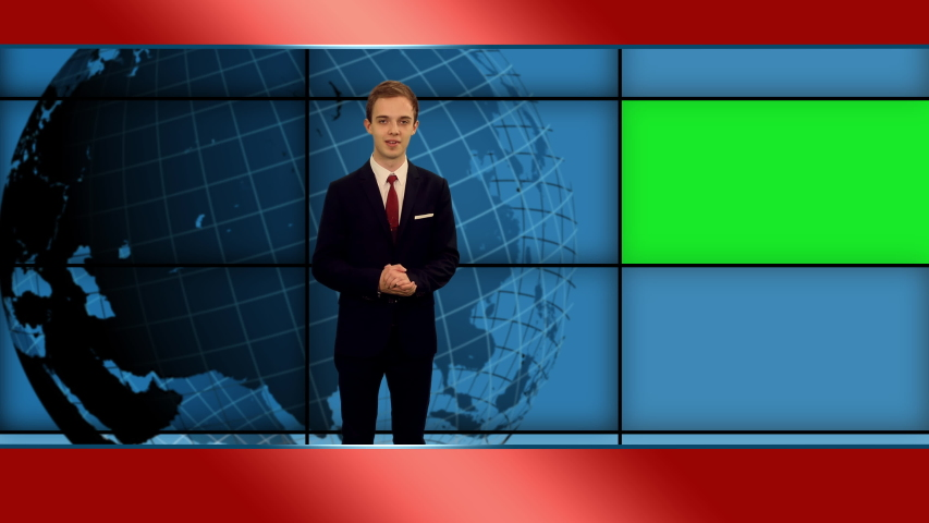 Young stylish newscaster telling the breaking news in tv studio with green mockup screen, 4k footage   Shutterstock HD Video #1055513756