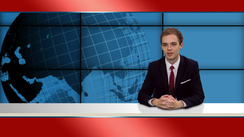 Anchorman in broadcasting studio talking last news, 4k footage   Shutterstock HD Video #1055513759
