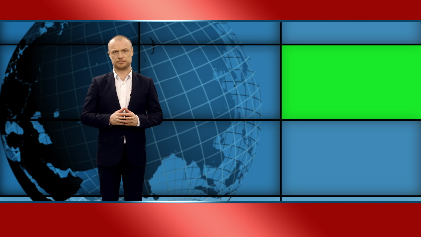 Anchor man telling the breaking news in broadcasting studio with green mockup screen, 4k footage   Shutterstock HD Video #1055513762