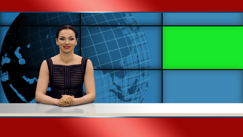 Attractive woman anchor tells news in broadcasting studio with green mockup screen, 4k footage   Shutterstock HD Video #1055513765