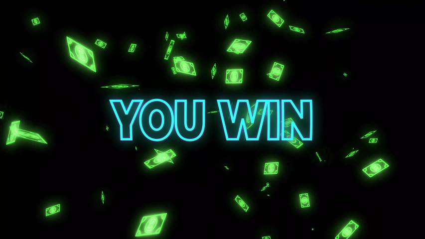 neon casino slot machine spinning, money flying after win combination and text you win Royalty-Free Stock Footage #1055520944