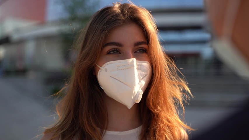 caucasian businesswomen and businessman wear medical face masks. Two colleagues avoid touch for coronavirus protection covid 19 spreading prevention. Royalty-Free Stock Footage #1055527274