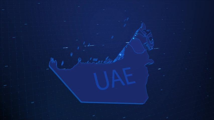 A stylized rendering of the United Arab Emirates   map conveying the modern digital age and its emphasis on global connectivity among people Royalty-Free Stock Footage #1055531540