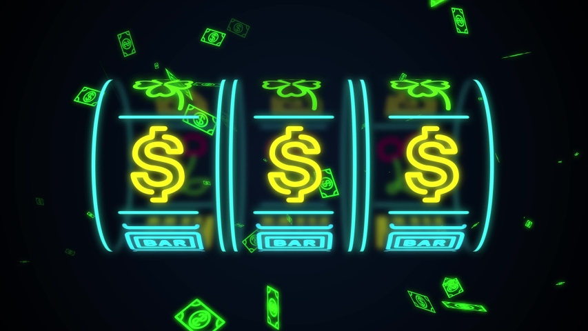 Neon casino slot machine spinning, money flying after win combination with dollar sign
