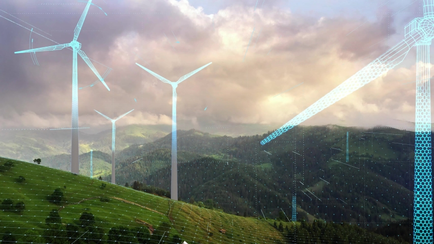 Futuristic Technology Concept. Aerial View of Wind Turbines Energy Production. Digital Network Over Ecology Safe Alternative Energy Source. Renewable energy production for green ecological world