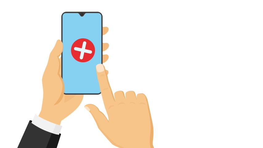 Hand clicking red X cross button on flat smartphone screen. Symbolizing wrong. Business concepts animation. | Shutterstock HD Video #1055553605